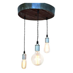 "Wine Country Craftsman - Radiance - Splendor - Wine Barrel Head Adjustable Chandelier - We take a retired wine barrel head, cut it down to 12"" and mount a wine barrel ring on the outside to define the piece. It is flush mount and has a metal cover on top that contains all the wiring. Easy to install with just one person."