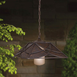Kichler Cathedral Pendant - The pendant has an elegant indoor feeling but is made to withstand the outdoors. I can see why it's named a cathedral pendant because it would look terrific swinging down from a vaulted porch ceiling.