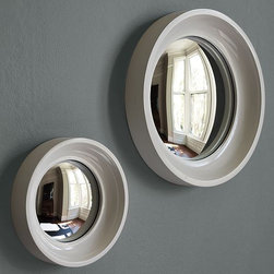 Convex Mirrors - Dramatic distortion. Fish-eye reflector adds a contemporary influence to any space.