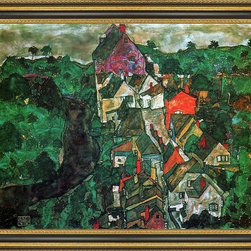 """Art MegaMart - Egon Schiele Krumau Landscape (Town River) - 18"""" x 24"""" Egon Schiele Krumau Landscape (also known as Town and River) framed premium canvas print reproduced to meet museum quality standards. Our Museum quality canvas prints are produced using high-precision print technology for a more accurate reproduction printed on high quality canvas with fade-resistant, archival inks. Our progressive business model allows us to offer works of art to you at the best wholesale pricing, significantly less than art gallery prices, affordable to all. This artwork is hand stretched onto wooden stretcher bars, then mounted into our 3 3/4"""" wide gold finish frame with black panel by one of our expert framers. Our framed canvas print comes with hardware, ready to hang on your wall.  We present a comprehensive collection of exceptional canvas art reproductions by Egon Schiele."""