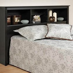 Prepac - 43 in. Storage Bookcase Headboard - A low-profile headboard is a wonderful complement to double or queen platform beds.  As part of the Sonoma Collection, this bookcase style with a black finish includes multiple open display space with room for a lamp and easily accessible items on top. Suitable for both full and queen-sized beds. Three storage compartments. Adjustable shelf in center compartment. Warranty: Five years. Made from CARB-compliant, laminated composite woods and sturdy MDF backer. Made in North America. Minimal assembly required. Side compartments: 21.5 in. W x 9.25 in. D x 11.25 in. H. Center compartment: 16.75 in. W x 9.25 in. D x 11.25 in. H. Overall: 65.75 in. W x 11 in. D x 43 in. HAdd a finishing touch and storage space to your bedroom with the Full/Queen Bookcase Headboard. Finally, a place to store and display your books, alarm clock and picture frames!