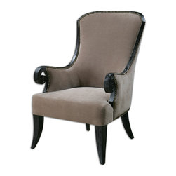 Uttermost - Kandy Taupe Armchair - A tantalizing taupe velvet cover and black finished poplar frame make this oh-so-chic Louis XIV inspired armchair as solid as it is stunning. What about the tall curved back, scrolled arms and antiqued nailhead accents, you ask? Icing on the rococo-flavored cake!
