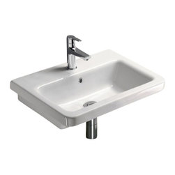 GSI - Rectangular White Ceramic Wall Mounted or Self Rimming Bathroom Sink, 3-Hole - Modern rectangular white ceramic wall hung or self rimming bathroom sink. Washbasin comes with overflow and no hole, one hole or three hole pre-drilled options. Sink towel bar to be purchased separately. Made in Italy by GSI.