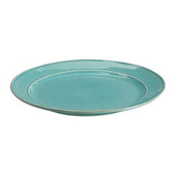 "Cambria Dinner Plate, Set of 4, Turquoise - Next to plain white dishes, our richly colored dinnerware brings warmth and appetizing ambiance to every meal. The glazed stoneware with visible natural undertones and rubbed edges is handcrafted in Portugal with an artisan-made look and feel. Dinner Plate: 12"" diameter Salad Plate: 9.5"" diameter Cereal Bowl: 7.5"" diameter, 3"" high; 15 fluid-ounce capacity Soup Bowl:  6"" diameter, 4"" high; 24 fluid-ounce capacity Mug: 5.5"" diameter, 4"" high; 12 fluid-ounce capacity Hand made in Portugal of glazed stoneware with rubbed edges. Microwave- and dishwasher-safe."