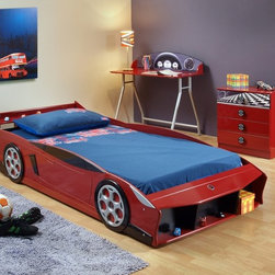 "Nelson Red Twin Sports Car Bed - Red Twin Race Car Bed Frame. Perfect for your little racing fan. Holds a standard twin mattress. Some assembly required. Dimensions:88""L X 43""W X 22""H"