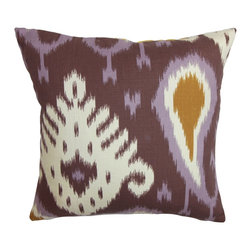 """The Pillow Collection - Bentshaya Ikat Pillow Ikat Purple - Eclectic and unique, this throw pillow is not your typical accent piece. It comes with an eccentric ikat pattern in shades of purple, white and orange. This square pillow looks great when placed in strategic locations inside your home. This 18"""" pillow fits perfectly in most furniture pieces. You can combine other textures and colors with this decor pillow. Hidden zipper closure for easy cover removal.  Knife edge finish on all four sides.  Reversible pillow with the same fabric on the back side.  Spot cleaning suggested."""