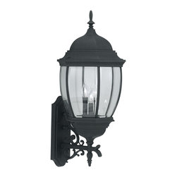 Designers Fountain - Designers Fountain Tiverton Traditional Outdoor Wall Sconce - This three-light, Designers Fountain Tiverton Traditional Outdoor Wall Sconce will be a beautiful addition to your home. It has a cast aluminum frame with gently flowing scroll work in a sleek, black finish and panels of rounded, clear beveled glass. It's a simple yet stylish, six-sided lantern that's sure to bring elegance and beauty to most any outdoor space.