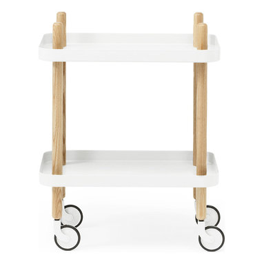 Modern Ash Wood White Cart Table - From its peg legs that extend into handles to its cheery, bright white shelves, this useful wheeled table exudes retro charm. Roll it from room to room for use as a nightstand, side table, bar cart, printer cart, and many other great options.