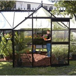 Janssens Junior Orangerie 13 x 10.25-Foot Greenhouse - Additional Features5-feet high shoulders with large gutters4-inch high foundation frame is includedDurable rubber seals hold the glass panels in placeDoor measures 28W x 75H inchesSidewall height measures 5.16 feetPeak height measures 8.3 feetMeasures 13W x 10.25L x 8.3H feetBeautiful and energy-efficient, the Junior Orangerie 13 x 10.25-Foot Greenhouse is ideal for growing and protecting your plants in any season. The aluminum profiles are designed to be thick and strong, and are black to add to the sophisticated look of this T-shaped greenhouse. Constructed with 4mm tempered glass, the glass panels are single piece for better insulation and to help keep your greenhouse clean. The sliding glass door can be placed on any vertical glass location, making set-up of this greenhouse easier. Durable rubber seals hold the glass panels in place. The greenhouse has 5-feet high shoulders with large gutters and a 4-inch high foundation frame. Perfect for any gardener, the Junior Orangerie requires some assembly. Assembly is a weekend project for one or two people.About JanssensKnown as the incredibly sensible greenhouse company, Janssens has been associated with quality greenhouses and orangeries, and continuously gains knowledge and experience with these products. If you're looking for a greenhouse, they're confident they have what you want. Janssens bases their business on their ability to listen and adapt to individual customer requirements from the get go. Their experience, knowledge and flexible approach, together with a high level of openness and integrity, have resulted in an enviable level of customer recommendation. As they continue to progress, they retain their old fashioned virtues of customer service and satisfaction.