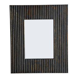 LINEA Rectangular Brown Line Mirror, Distressed Brown Finish, 2-way Hanging - Large rectangular mirror with rough line etchings. Handcrafted. Distressed Brown.