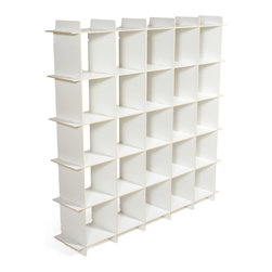 Quark Enterprises - 25-Cubby Organizer, White - A new addition to our Cubby Storage line, the 25 Cubby Organizer offers a large amount of storage in a convenient package. Like our other storage furniture options, the 25 Cubby Organizer is meant to be used with our kids' storage bins. You can use it to store books and clothes or fill the bins with art supplies and other knick knacks. With so much space to put things your kids' rooms will always be neat and tidy.
