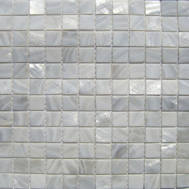 """White Mother of Pearl 1"""" x 1""""  Tile - Mother of pearl tiles add new and unique elegance to your bathroom, backsplash, headboard, and more. Our Mother of Pearl tiles are handmade from genuine natural freshwater pearls. Although Mother of Pearl tiles are naturally thin, they are very strong and durable as well as easy to install in kitchens, bathrooms, and pools."""