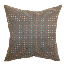 """The Pillow Collection - Ocelfa Dots Pillow Brown 18"""" x 18"""" - This throw pillow features a playful dot pattern in vibrant colors. The brown colored background interplay with red and green colored dots on a diamond print pattern. The two patterns complement each other and give this decor pillow a dynamic twist. This square pillow is perfect for casual and formal settings. This 18"""" pillow is crafted from 100% high-quality polyester fabric. Hidden zipper closure for easy cover removal.  Knife edge finish on all four sides.  Reversible pillow with the same fabric on the back side.  Spot cleaning suggested."""