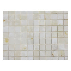 Pearl White Onyx Polished Mosaic Tiles, Single Sheet - 1 in. x 1 in. Pearl White  Square Pattern Onyx Mosaic Tile is a great way to enhance your decor with a traditional aesthetic touch. This polished mosaic tile is constructed from durable, impervious onyx material, comes in a smooth, unglazed finish and is suitable for installation on floors, walls and countertops in commercial and residential spaces such as bathrooms and kitchens.