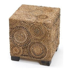 "Go Home Ltd - Square Banana Stool by Go Home - Circular patterns of raffia tightly hug the square wood framed Square Banana Stool by Go Home. Golden and dark browns are complimented with the dark wood cube feet. Use it as additional seating that can be stowed under a console or top it with glass for an accent table. (GH) 15.75""l x 15""75""d x 17.5""h"