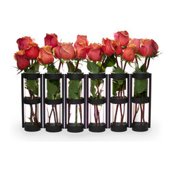 """Danya B - Large Six Tube Hinged Vase Set - Set of 6. Features six glass vials hinged on a sturdy metal stand. Artfully display flowers or dried botanicals in each tube. Hinges allow you to set vase in many different ways. Glass vases are easily removable for cleaning. 19 in. L x 2.5 in. W x 8 in. H (5.9 lbs)This hinged vase with six 8"""" glass vials on a metal stand is easy to arrange with just a few flowers. Hinges allow you to set vase different ways for a playful accent. Set a few together for an elongated effect, or wrap it around a patio umbrella for an original centerpiece. With this unique and simple design anyone can crate beautiful arrangements to go on a round or rectangular table in minutes without proper floral training!"""