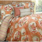 Scent-Sation Shell Key Quilt - Steeped in country charm, the Scent-Sation Shell Key Quilt will warm up your bedroom decor in casual, comfortable style. Featuring a richly textured seashell print against a peach background, this quilt is complemented by a reversible pattern of cottagey stripes. Available in a variety of sizes, this quilt is expertly crafted of ultra-durable cotton sateen.About Scent-Sation, Inc.Founded in 1950, Scent-Sation has continually remained focused on manufacturing the finest bedding, sheets, and hangers available. The company took its name from the very first product they manufactured: scented hangers. From there, the company moved on to bedding and sheets, though it didn't leave the aromatic satin hangers behind. Whether you're looking for traditional or contemporary bedding, Scent-Sation has a high-quality option for you, crafted with care and attention to detail.