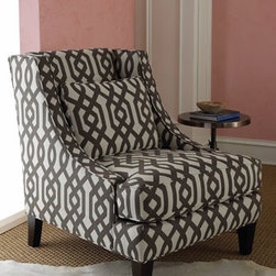 "Massoud - Gray Graphic Chair - Graphic prints are all the rage and the ""Gray Graphic"" chair is perfect for the updated, modern interior.  You'll love this sharp chair upholstered in crisp cotton covers with a dark hardwood frame. 32""W x 39""D x 38""T; arm and seat height, 19""."
