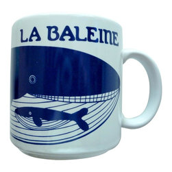 Taylor and Ng - French Le Baleine (Whale) Mug - Vintage French series La Baleine (Whale) in a Blue design on a White 11 oz Ceramic mug. Dishwasher, microwave safe. Vintage French Mugs collection. Stackable for easy storage. 3.25 in. L x 3.25 in. W x 3.5 in. H