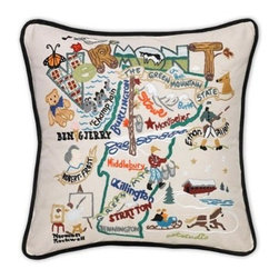 CATSTUDIO - Vermont State Pillow by Catstudio - Celebrate the states! These pillows from Catstudio's Geography Collection are delightful keepsakes for remembering the hometown you grew up in or commemorating your favorite vacation spot. Embroidered entirely by hand (over 35 hours go into each one!) with black velvet piping, these make the perfect gift for all occasions! Removable cotton cover and polyfill pillow form. Cover is dry clean only.