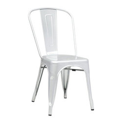 Fine Mod Imports - Tolix-Style Dining Chair, Silver - More than three quarters of a century later, the famous chair adopts a new look, with a curving back to make it even more comfortable. The Tolix Style Chair can be used indoor or outdoor. Outdoor powder coating protection.