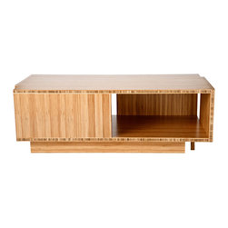 Stylo - Compact Coffee Table in Bamboo - If your modern space demands storage as well as style, this compact coffee table will fit in seamlessly. It beautifully highlights the patterns inherent in bamboo (hello, highly sustainable resource) and provides ample real estate for your stuff.