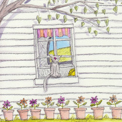 New Yorker Cover Entry - Cat On Sill - Unpublished (Salon Du Refusee) (Original) - This is a submission to The New Yorker for a cover. It was rejected. It is a happy cat sitting on a sill in summer.