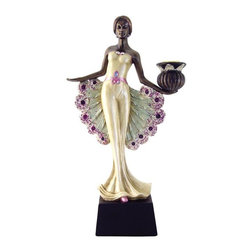 TLT - 12.25 Inch Hand Painted Peacock Lady Candle Holder Statue, Left Hand - This gorgeous 12.25 Inch Hand Painted Peacock Lady Candle Holder Statue, Left Hand has the finest details and highest quality you will find anywhere! 12.25 Inch Hand Painted Peacock Lady Candle Holder Statue, Left Hand is truly remarkable.