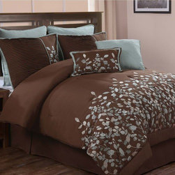Luxury Home - Jardin 8-piece Embroidered Luxury Comforter Set - Add an extra touch of luxury to your bedroom decor with this 8 piece comforter set. This bedding ensemble showcases a beautiful light blue embroidered leaf design against a chocolate brown background. Features: -Available in Queen or King sizes. -Set includes: comforter, bed skirt, 2 shams, 2 euro shams and 2 decorative pillows. -Color: Chocolate. -Classic appeal with intricate embroidery, the jardin comforter set offers style along with comfort. -Beautifully embroidered leaves in blue are set against a chocolate brown background. -Machine wash cold, tumble dry low.