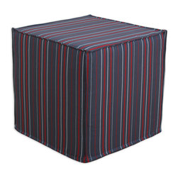 """Chooty - Chooty Multi Stripe Charcoal Collection 17"""" Square Seamed Foam Ottoman - Insert 100 High Density Foam, Fabric Content 100 Polyester, Color Grey, Red, Silver , Hassock 1"""