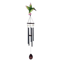 Great World - 43 Inch Multicolored Hummingbird Large Top Poly Resin Wind Chime - This gorgeous 43 Inch Multicolored Hummingbird Large Top Poly Resin Wind Chime has the finest details and highest quality you will find anywhere! 43 Inch Multicolored Hummingbird Large Top Poly Resin Wind Chime is truly remarkable.