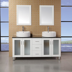 Design Element - Design Element Ove 60-inch Double Sink Vanity Set with Black Tempered Glass Top - Combining style and functionality,this Malibu double sink vanity will beocme the center spotlight of your bathroom.
