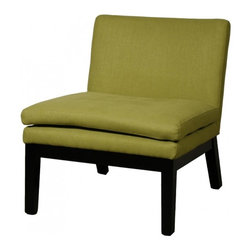 NPD (New Pacific Direct) Furniture - Cosmo Slipper Chair by NPD Furniture, Lime Fabric - Comfort and modern, this Cosmo slipper chair will be a great addition to your living area. This modern chair has wood base with fabric or bonded leather upholstered seat finish.
