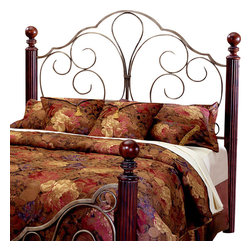 Hillsdale - Hillsdale Ardisonne Metal and Wood Headboard in Silver/Cherry-King - Hillsdale - Headboards - 284HK - Relax like a royal. Pleasing to the eye and rich in detail the Ardisonne Headboard features fully-reeded cherry posts with delicate lathe-turned finials offset by antiqued elaborate scrollwork to create a beautifully aristocratic theme.