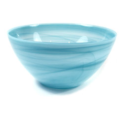 Turquoise Blue Alabaster Bowl - Beautiful Alabaster Bowl just the right size for serving a side dish or to use to display your favorite fruits.