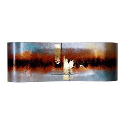 """Jasmine Art Glass - 28In Center Platter 20605 - 28"""" fused glass rectangular platter in silver, rust, red, and black, with hand painted metallic gold and black details"""