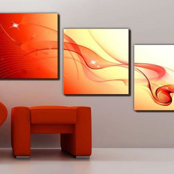 Stretched Canvas Print Art Abstract Dancing Silk Set of 3 -183M(R) - Subject: Abstract