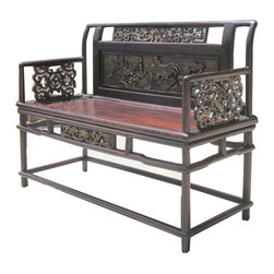 Golden Lotus - Chinese Antique Flower Rooster Gold Carving Double Seats Bench Arm Chair - This is a Chinese antique double seats arm chair which is made of solid elm wood.  The back has flower and rooster gold hand carving on it and arms have dragon carving.  It will be gorgeous to put at your entrance hallway.