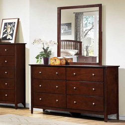 Homelegance - Homelegance Nancy 6 Drawer Dresser w/ Mirror in Merlot - Allowing for flexible placement in a variety of home decors is the Nancy Collection by Homelegance. The shape of the Headboard and Footboard – both featuring vertical slat accent – provides a perfect contrast to the clean design of the case pieces. Brushed nickel hardware accents each case piece. The merlot Finish lends to the versatile look of the collection.