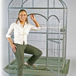 """Prevue Hendryx - Silverado Macaw Cage - Silverado Macaw Dome top cage. The largest cage in the Prevue line. Roomy dometop design. Double-locking 20"""" L x 43"""" H front door. Flathead hex bolt cage assembly that birds cannot unscrew. Easy to assemble slip in mesh for easy cleaning. Pull-out bottom grille and drawer for easy cleaning. Cage stand base features easy-rolling casters. Rounded corner seed guards. Heavy duty powder coated Silverado finish -Solid wrought-iron construction. -Black cage with a silvery finish. -Includes 3 large stainless steel non-tip bowls, 2.375"""" D hardwood perch and seed guard set. -Pull-out bottom grille and drawer for easy cleaning. -Cage stand base features easy-rolling casters. -Rounded corner seed guards. -Measures 46"""" L x 36"""" W x 78.25"""" H. -Interior: 46"""" L x 36"""" W x 63"""" H. -9 gauge wire. -1.375"""" spacing. -90 day warranty."""