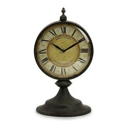 iMax - iMax Christopher Clock X-87472 - antiqued round metal table top clock