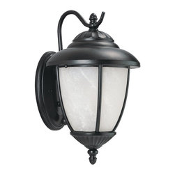 Sea Gull Lighting - Sea Gull Lighting 89250PBLE-12 Yorktowne ENERGY STAR Fluorescent Outdoor Wall Sc - Fluorescent Outdoor Wall Fixture in Black Finish with Swirled Marblelized Glass. ENERGY STAR Compliant. Photocell included. cETL listed for Wet Locations.