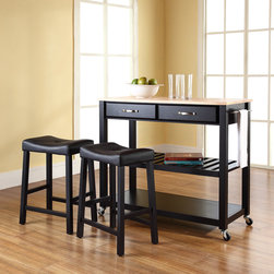Crosley Furniture - Kitchen Cart Natural Wood Top - Includes two stools. Solid wood top with natural finish. Hand rubbed, multi-step finish. Adjustable/removable shelf. Towel bar. Two deep drawers. Beautiful raised panel drawer fronts. Brushed nickel hardware. Warranty: 90 days. Made from solid hardwood and wood veneers. Black finish. Assembly required. 42 in. W x 18 in. D x 36 in. H (81 lbs.)Mobile kitchen cart is designed for longevity. The handsome raised panel drawer fronts provide the ultimate in style to dress up any culinary space. Remove the shelf completely to allow for storing larger objects. The heavy duty casters provide the ultimate in mobility. When the cabinet is where you want it, simply engage the locking casters to prevent movement. Style, function, and quality make this mobile solution a wise addition to your home.