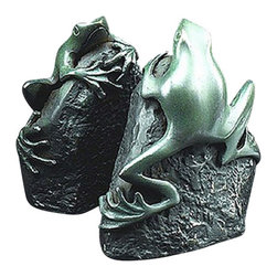 """Brass Patina Finished Frog Bookends - The brass patina finished frog bookends measure 5.5""""H. They feature exquisite brass patina finished detail. They will add a definite nautical touch to whatever room they are placed in and are a must have for those who appreciate high quality nautical decor. They are heavy enough to support any size book. They make great gifts, impressive decorations and will be admired by all those who love the sea."""