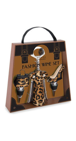 Wild Eye Designs - Fashion Wine Set, Leopard - Wine is to fashion as music is to cat-walking - it's definitely more fun when you have a little inspiration to go along with your outfit! The Fashion Wine Set expresses this sentiment with its high heel and purse bottle stoppers, and stylishly matching corkscrew. A perfect gift for the fashionable wine-enthusiast in your life!