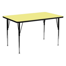 "Flash Furniture - 24''W x 48''L Rectangular Activity Table with Yellow Top and Adjustable Legs - Flash Furniture's XU-A2448-REC-YEL-T-A-GG warp resistant thermal fused laminate rectangular activity table features a 1.125"" top and a thermal fused laminate work surface. This Rectangular Laminate activity table provides a durable work surface that is versatile enough for everything from computers to projects or group lessons. Sturdy steel legs adjust from 21.125"" - 30.125"" high and have a brilliant chrome finish. The 1.125"" thick particle board top also incorporates a protective underside backing sheet to prevent moisture absorption and warping. T-mold edge banding provides a durable and attractive edging enhancement that is certain to withstand the rigors of any classroom environment. Glides prevent wobbling and will keep your work surface level. This model is featured in a beautiful Yellow finish that will enhance the beauty of any school setting.; Rectangular Activity Table; Scratch and Stain Resistant Surface; 1.125"" Thick Thermal Fused Yellow Laminate Top; Black Edge Band; Black Edge Band; 16 Gauge Tubular Steel Legs; Black Powder Coated Upper Legs and Chrome Lower Legs; Legs Adjust in 1"" Increments; Self-Leveling Nylon Floor Glides; Recommended Grade Level: 1st Grade - Adult; Recommended Seating Capacity: 2 Adults; 4 Children; 2 Year Limited Warranty; View All Sizes and Finishes; Weight: 52 lbs; Overall Dimensions: 24""W x 48""D x 21.125"" - 30.125""H"