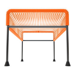 Adam Ottoman, Orange Weave On Black Frame - Sleek woven vinyl makes this coffee table stand out from the crowd. It's a great option for indoor or outdoor use since the vinyl is UV protected and the metal base is galvanized. The only challenge would be deciding on your favorite color combination.