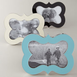 """Jonathan Adler - Jonathan Adler """"Bracket"""" Frame - Frames pop your favorite photos with bold color and graphic form. From Jonathan Adler. Holds a 4"""" x 6"""" photo. Enamel frame with polished-nickel edging. Select color when ordering. 5.5""""W x 1""""D x 7""""T. Imported."""