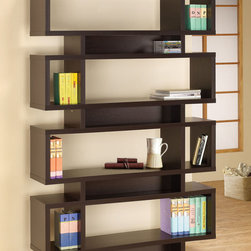 Coaster - 800307 Four Tier Bookcase - Perfect for any modern home, this contemporary bookcase in cappuccino has stylish open compartments in various sizes to help you store, decorate and display all your personal items. This bookcase can also be used as a room divider or display shelf.