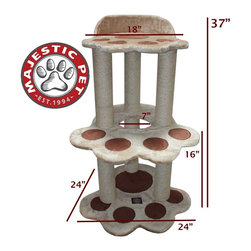 Majestic Pet - Majestic Pet Products 37 in. Bungalow Sherpa Cat Tree - Tan Multicolor - 7889957 - Shop for Towers and Houses and Accessories from Hayneedle.com! Towering four feet tall the Majestic Pet Products 37 in. Bungalow Sherpa Cat Tree will have your cats climbing to their joy. This fine cat tree features three levels all upholstered in a beautiful faux sheepskin. To save your furniture from a shredding each support post is wrapped in a durable Sisal rope so your cats can get a good scratch whenever they please. With all the tools included it assembles without issue in minutes.